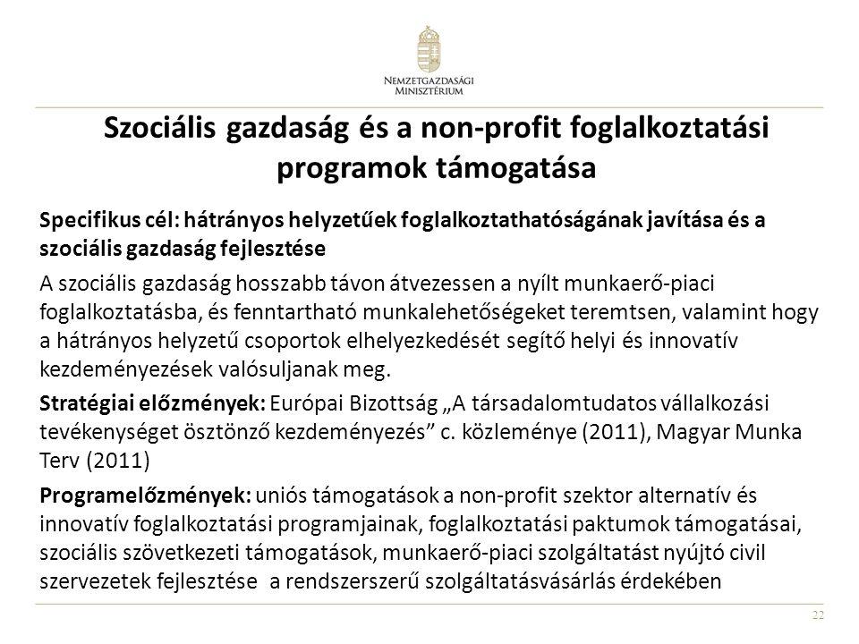 22 Szociális gazdaság és a non-profit foglalkoztatási programok támogatása Specifikus cél: hátrányos helyzetűek foglalkoztathatóságának javítása és a szociális gazdaság fejlesztése A szociális gazdaság hosszabb távon átvezessen a nyílt munkaerő-piaci foglalkoztatásba, és fenntartható munkalehetőségeket teremtsen, valamint hogy a hátrányos helyzetű csoportok elhelyezkedését segítő helyi és innovatív kezdeményezések valósuljanak meg.