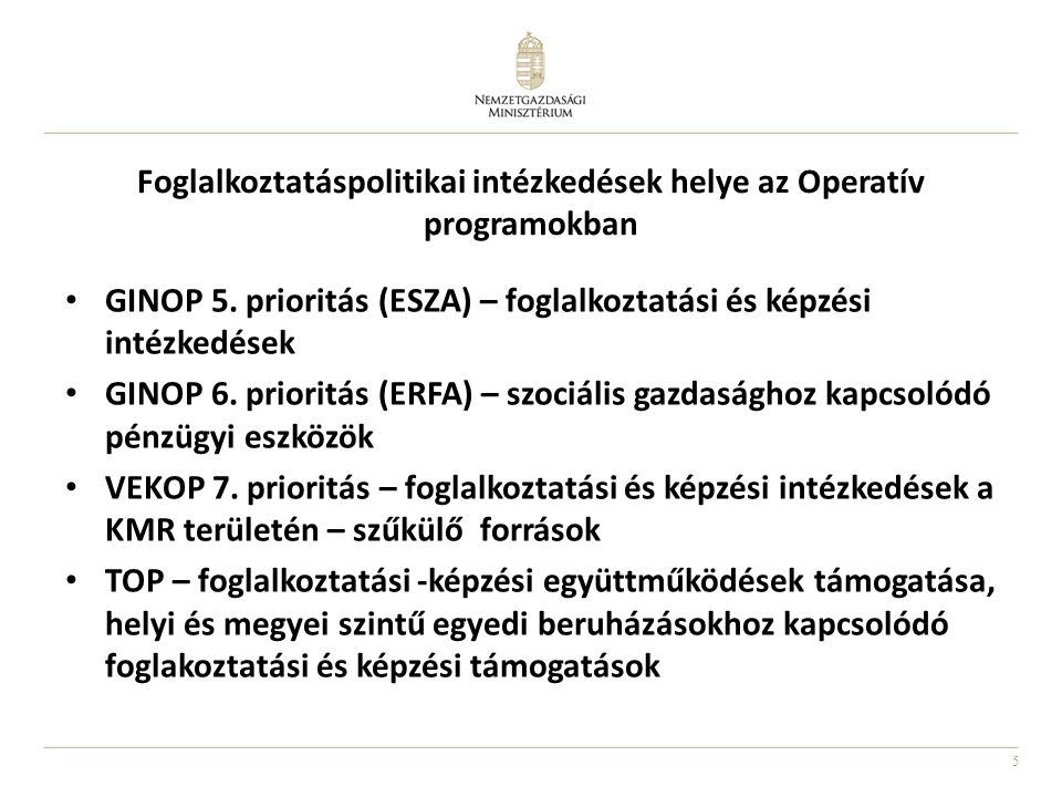 5 Foglalkoztatáspolitikai intézkedések helye az Operatív programokban • GINOP 5. prioritás (ESZA) – foglalkoztatási és képzési intézkedések • GINOP 6.