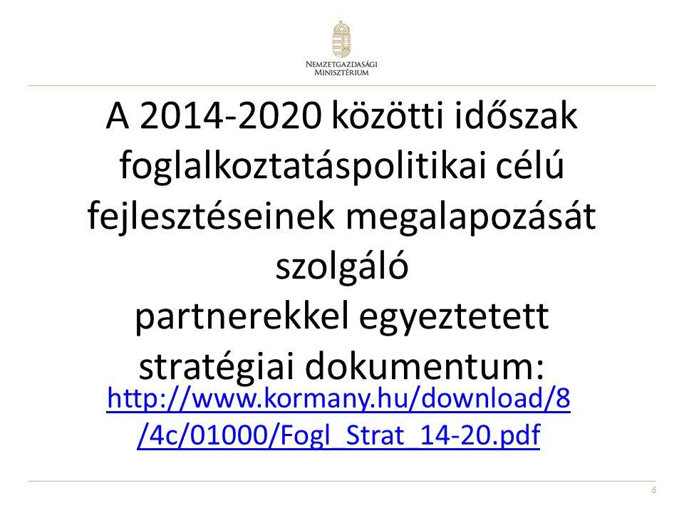 6 A 2014-2020 közötti időszak foglalkoztatáspolitikai célú fejlesztéseinek megalapozását szolgáló partnerekkel egyeztetett stratégiai dokumentum: http://www.kormany.hu/download/8 /4c/01000/Fogl_Strat_14-20.pdf