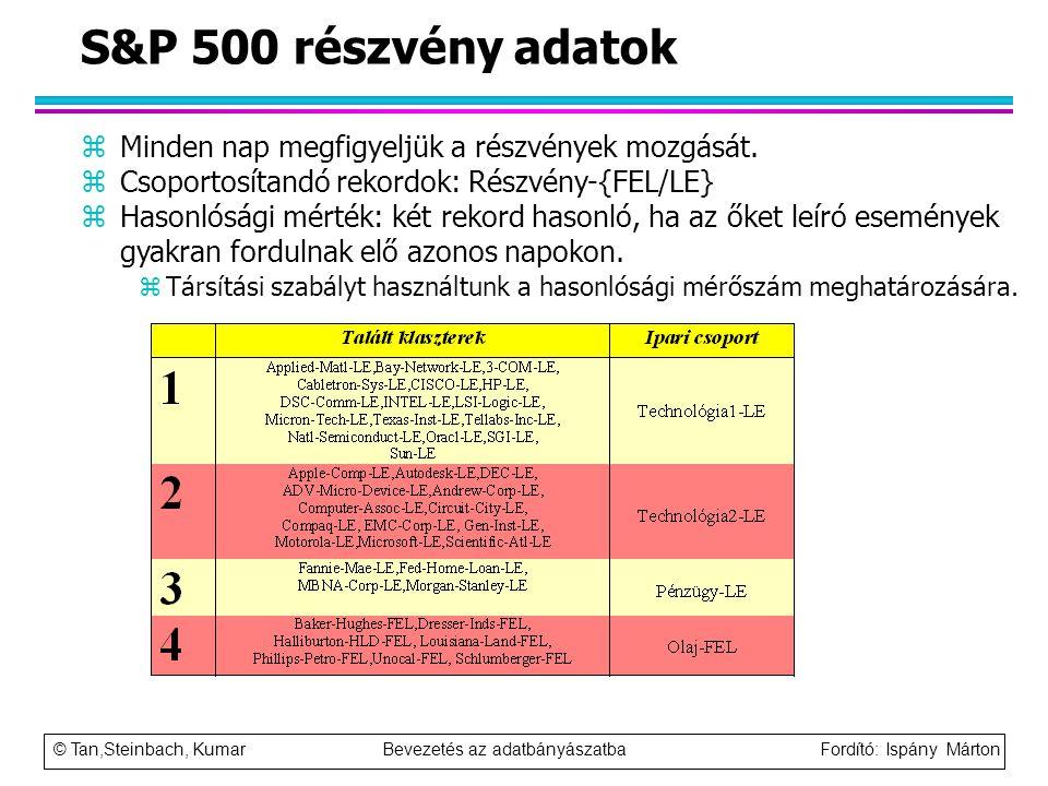 © Tan,Steinbach, Kumar Bevezetés az adatbányászatba Fordító: Ispány Márton S&P 500 részvény adatok zMinden nap megfigyeljük a részvények mozgását. zCs