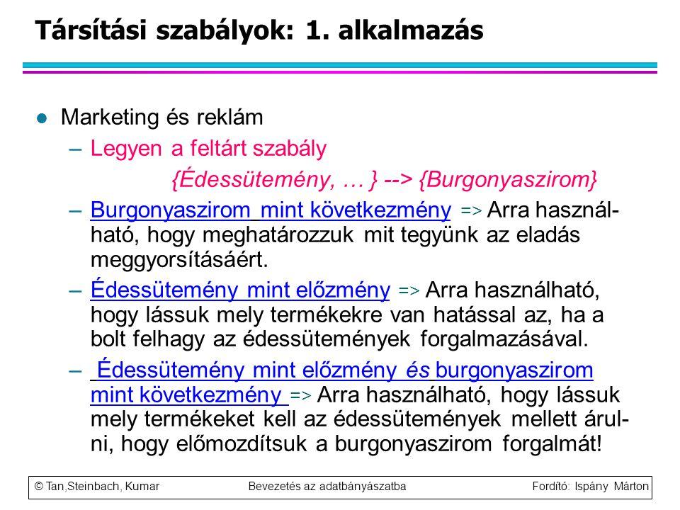 © Tan,Steinbach, Kumar Bevezetés az adatbányászatba Fordító: Ispány Márton Társítási szabályok: 1. alkalmazás l Marketing és reklám –Legyen a feltárt