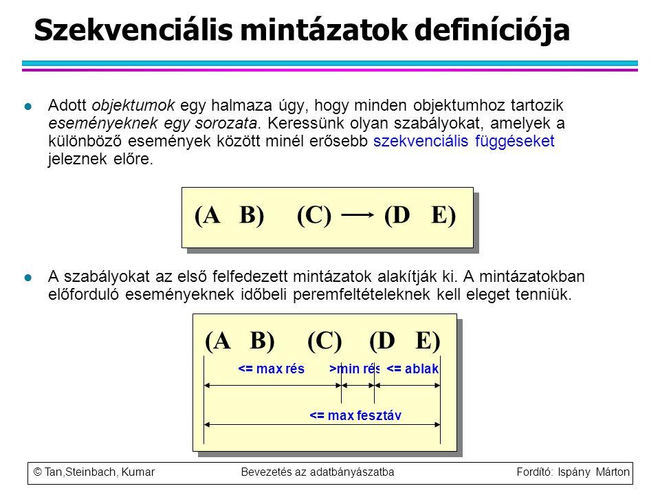 © Tan,Steinbach, Kumar Bevezetés az adatbányászatba Fordító: Ispány Márton Szekvenciális mintázatok definíciója l Adott objektumok egy halmaza úgy, ho