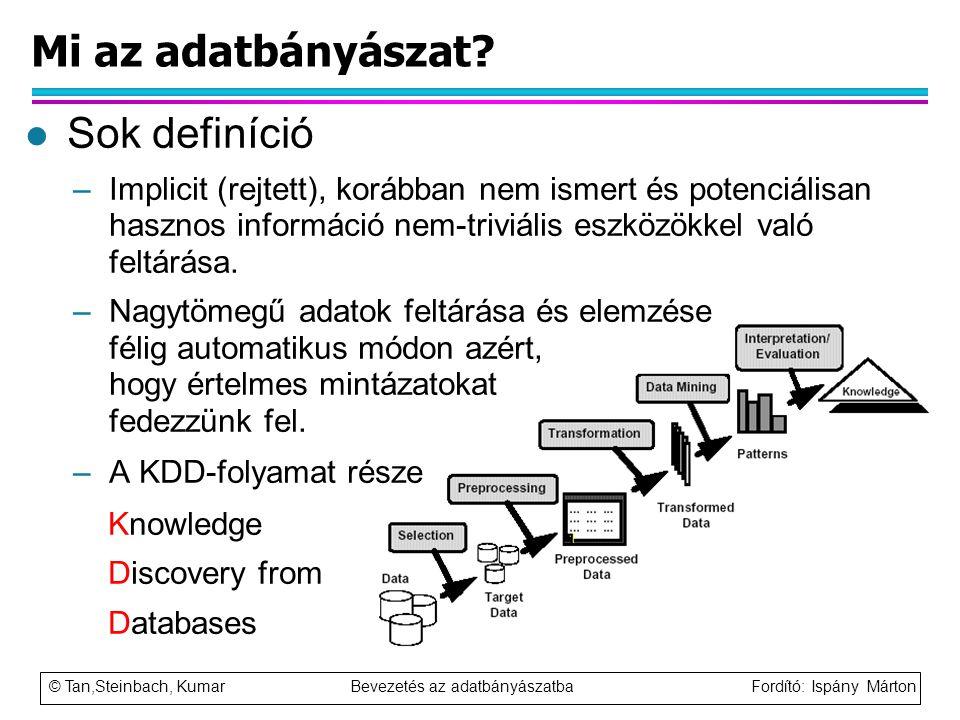 © Tan,Steinbach, Kumar Bevezetés az adatbányászatba Fordító: Ispány Márton Mi az adatbányászat? l Sok definíció –Implicit (rejtett), korábban nem isme