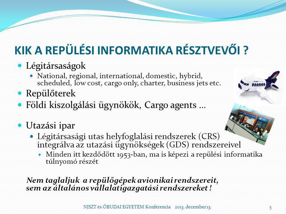 REPÜLÉSI INFORMATIKA MAGYAR VONATKOZÁSAI  A MALÉV igen korán, bátran és hatékonyan csatlakozott nagy nemzetközi rendszerekhez, amelyek közösségeiben meghatározó szerepet játszott  A MALÉV és a Budapest Airport (korábban LRI) stratégiai partnere a SITA volt, később a szolgáltatók köre bővült  A külső szolgáltatásokon kívül a MALÉV közös fejlesztésekben is jeleskedett, majd lett példa önálló magyar termékcsaládra  A kiemelkedő magyar teljesítményt (pl.