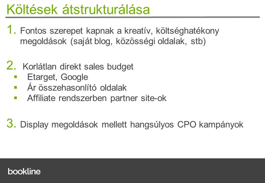 1. Fontos szerepet kapnak a kreatív, költséghatékony megoldások (saját blog, közösségi oldalak, stb) 2. Korlátlan direkt sales budget  Etarget, Googl