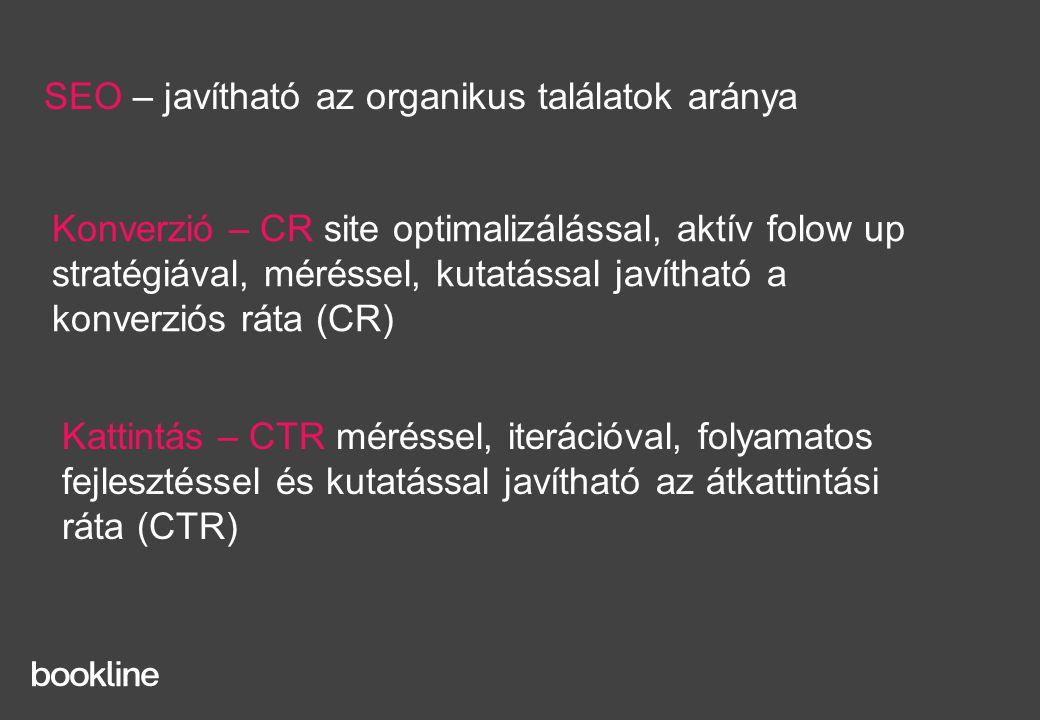 Kattintás – CTR méréssel, iterációval, folyamatos fejlesztéssel és kutatással javítható az átkattintási ráta (CTR) SEO – javítható az organikus találatok aránya Konverzió – CR site optimalizálással, aktív folow up stratégiával, méréssel, kutatással javítható a konverziós ráta (CR)