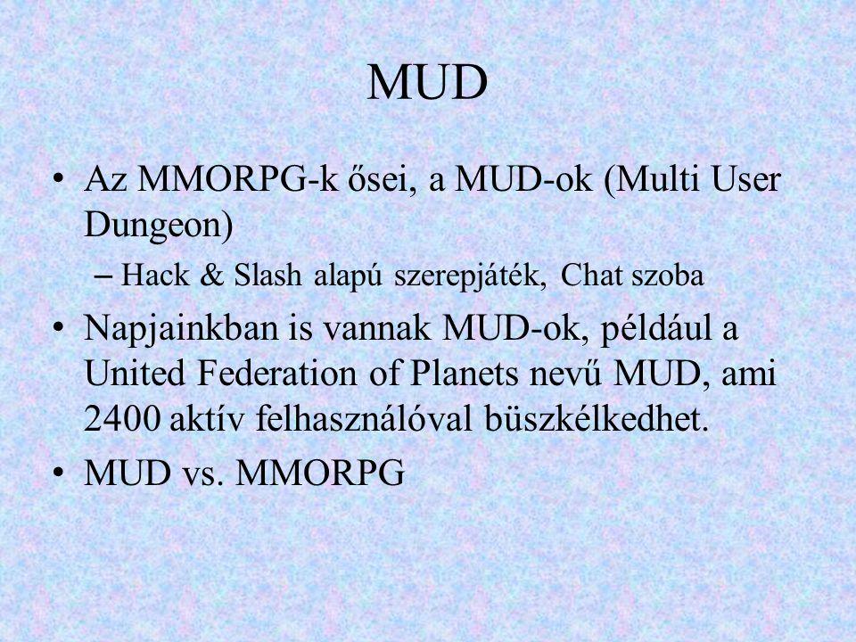 MUD • Az MMORPG-k ősei, a MUD-ok (Multi User Dungeon) – Hack & Slash alapú szerepjáték, Chat szoba • Napjainkban is vannak MUD-ok, például a United Fe