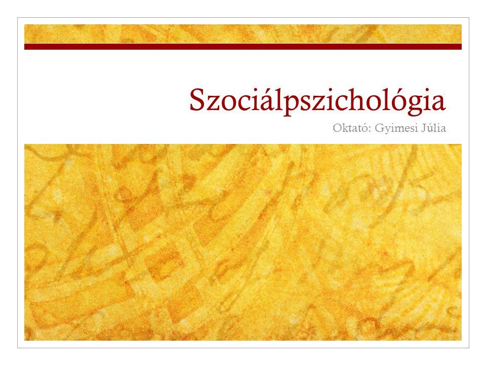 Mi a szociálpszichológia  Társas befolyásolás  Definíció: A szociálpszichológia azt vizsgálja, hogyan zajlanak le az emberi interakciók, és hogyan befolyásolja a társak tényleges vagy implikált jelenléte az emberek gondolatait, érzéseit, viselkedését vagy szándékait.