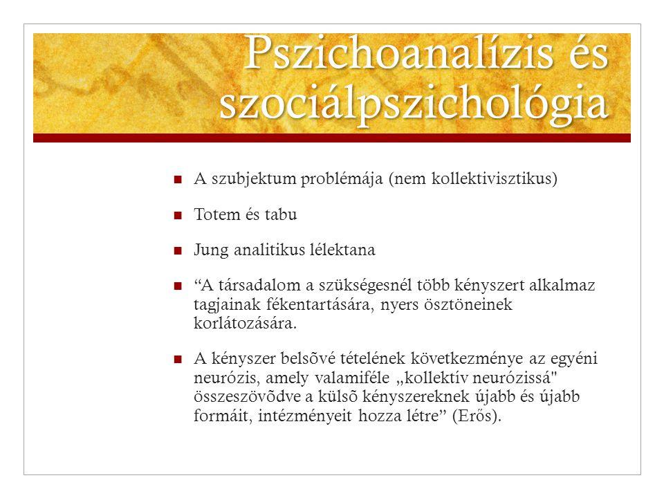 """Pszichoanalízis és szociálpszichológia  A szubjektum problémája (nem kollektivisztikus)  Totem és tabu  Jung analitikus lélektana  """"A társadalom a"""