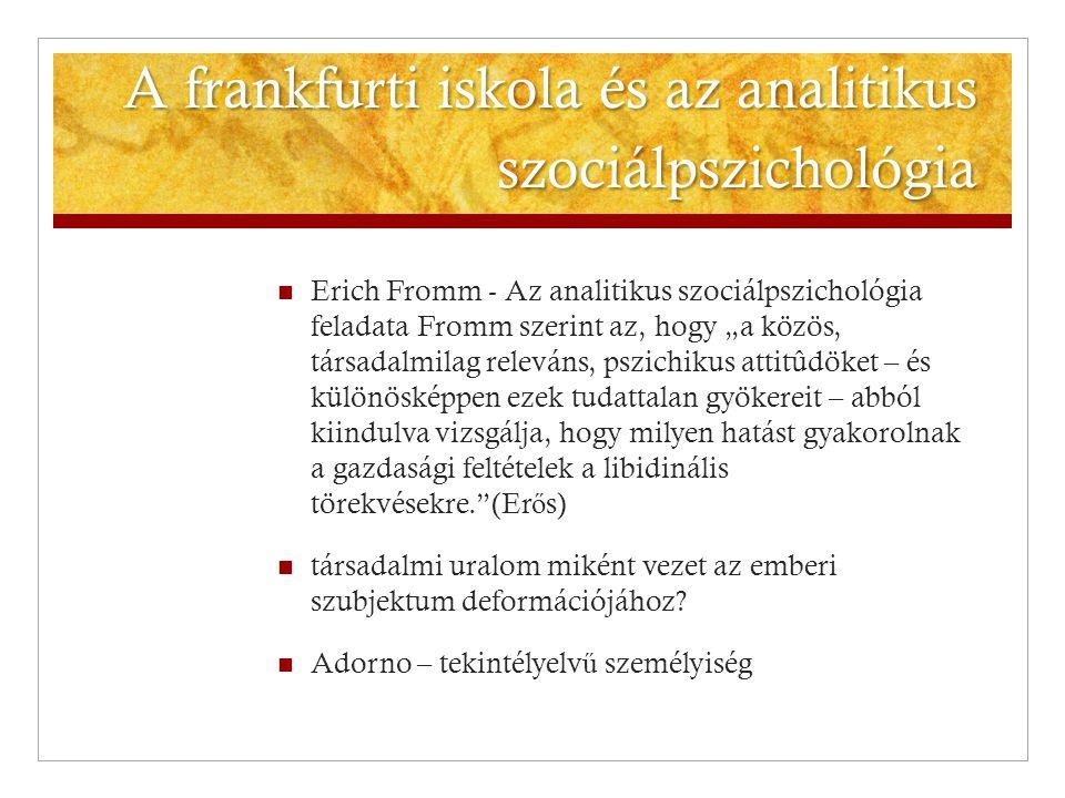 """A frankfurti iskola és az analitikus szociálpszichológia  Erich Fromm - Az analitikus szociálpszichológia feladata Fromm szerint az, hogy """"a közös, t"""