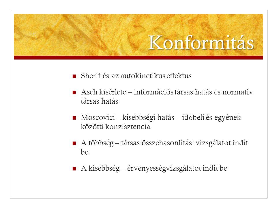 Konformitás  Sherif és az autokinetikus effektus  Asch kísérlete – információs társas hatás és normatív társas hatás  Moscovici – kisebbségi hatás