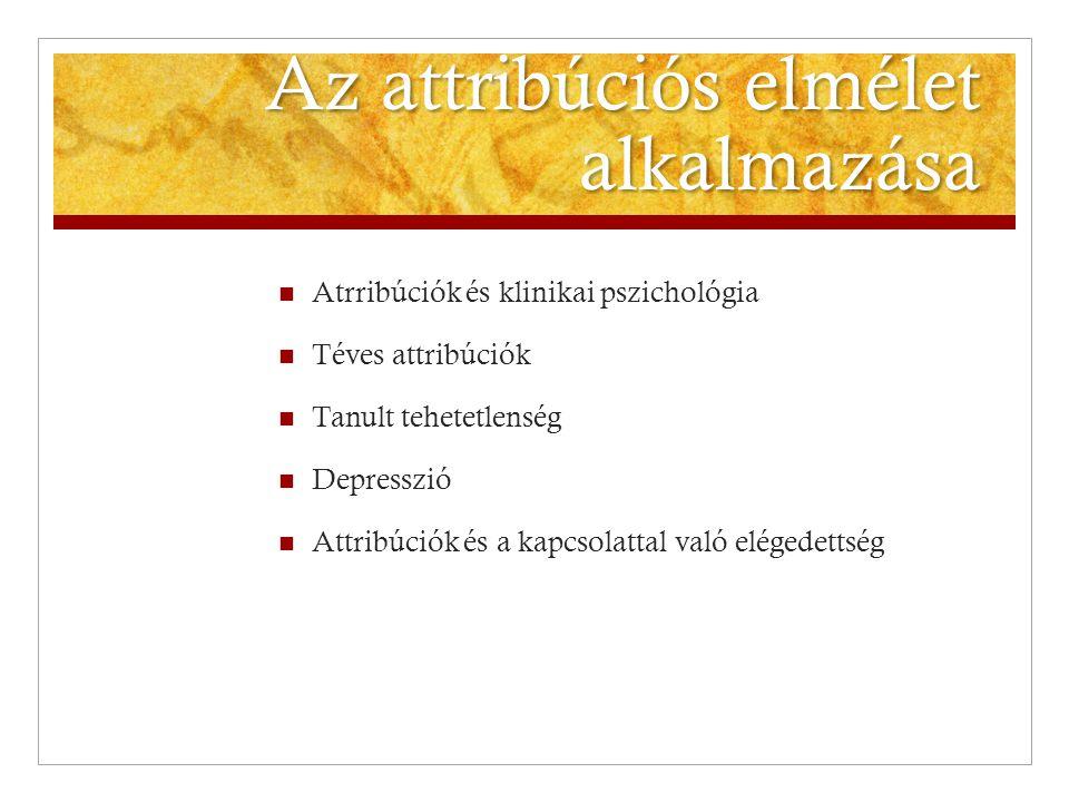 Az attribúciós elmélet alkalmazása  Atrribúciók és klinikai pszichológia  Téves attribúciók  Tanult tehetetlenség  Depresszió  Attribúciók és a k
