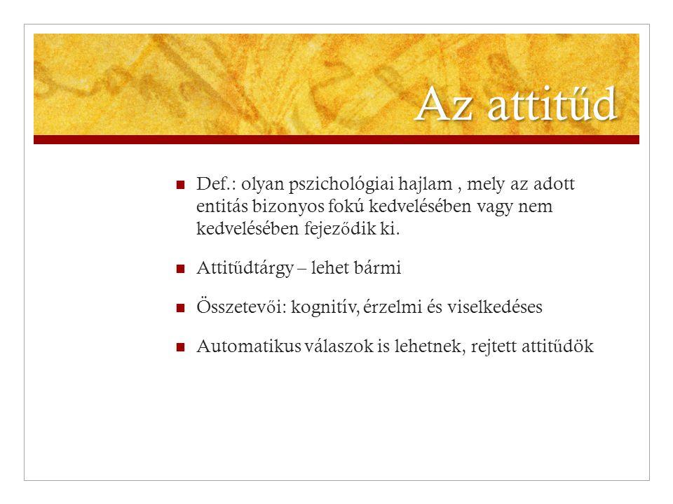 Az attit ű d  Def.: olyan pszichológiai hajlam, mely az adott entitás bizonyos fokú kedvelésében vagy nem kedvelésében fejez ő dik ki.  Attit ű dtár