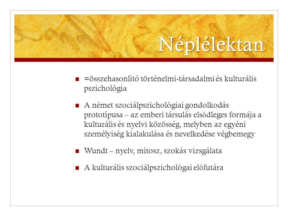 Néplélektan  =összehasonlító történelmi-társadalmi és kulturális pszichológia  A német szociálpszichológiai gondolkodás prototípusa – az emberi társ