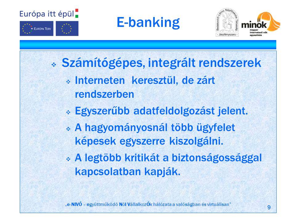 """""""e-NIVÓ – együttműködõ NõI VállalkozÓk hálózata a valóságban és virtuálisan 9 E-banking  Számítógépes, integrált rendszerek  Interneten keresztül, de zárt rendszerben  Egyszerűbb adatfeldolgozást jelent."""