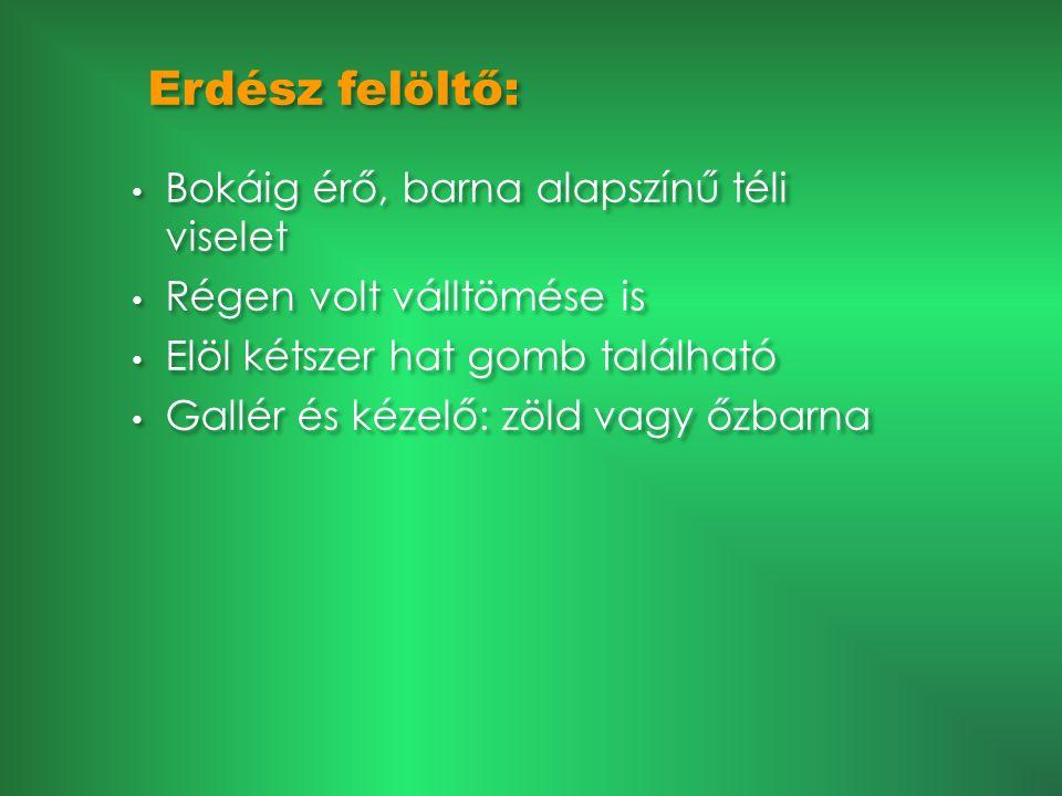 Erdész felöltő: • Bokáig érő, barna alapszínű téli viselet • Régen volt válltömése is • Elöl kétszer hat gomb található • Gallér és kézelő: zöld vagy