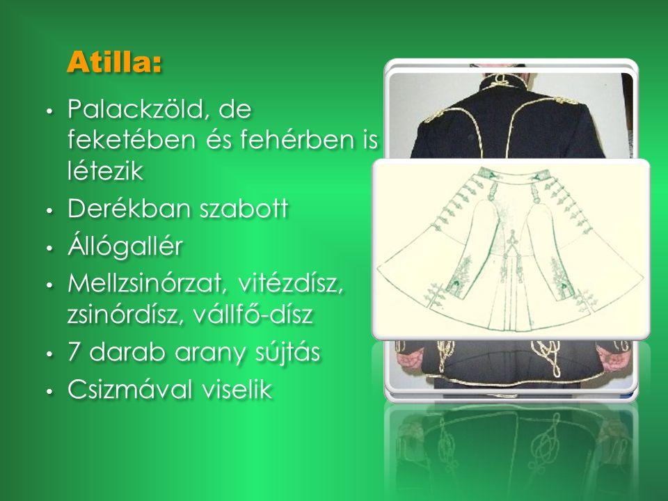 Aufhauer (Auf): • Jó minőségű fekete anyagból készül • Állógallér és a kézelő bársonyból készült a karnak megfelelő színben • Elöl 5 nagy aranygomb hátul 3-3 kisebb aranygomb a hasíték mentén (Miskolcon) • A kézelőn is gomb (varrónő legenda) • A/4 –es belső zseb • Bal karján szalag(Miskolc) • Jó minőségű fekete anyagból készül • Állógallér és a kézelő bársonyból készült a karnak megfelelő színben • Elöl 5 nagy aranygomb hátul 3-3 kisebb aranygomb a hasíték mentén (Miskolcon) • A kézelőn is gomb (varrónő legenda) • A/4 –es belső zseb • Bal karján szalag(Miskolc)