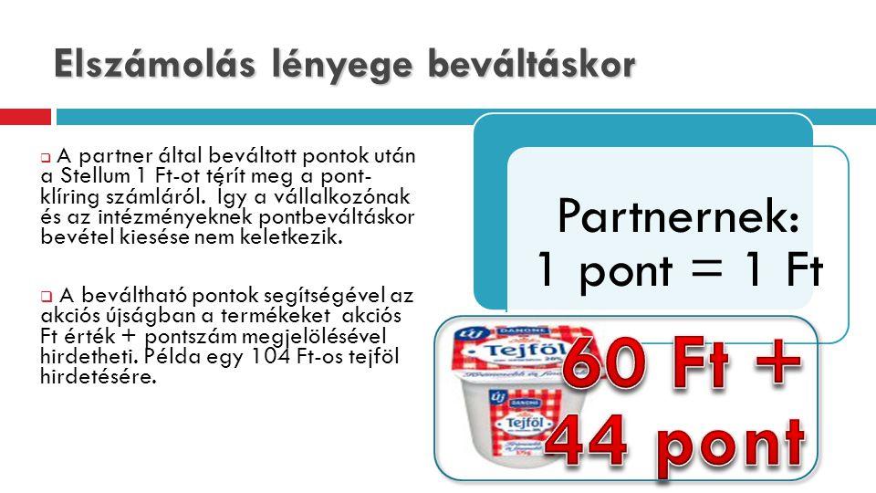 Elszámolás lényege beváltáskor  A partner által beváltott pontok után a Stellum 1 Ft-ot térít meg a pont- klíring számláról.
