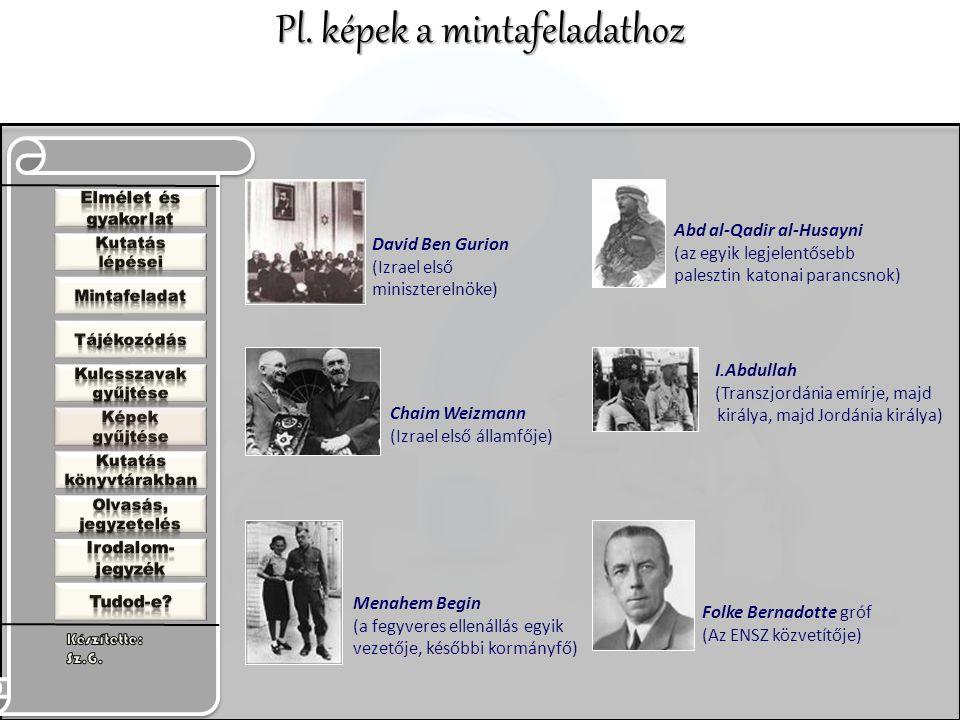 David Ben Gurion (Izrael első miniszterelnöke) Chaim Weizmann (Izrael első államfője) Menahem Begin (a fegyveres ellenállás egyik vezetője, későbbi kormányfő) Abd al-Qadir al-Husayni (az egyik legjelentősebb palesztin katonai parancsnok) I.Abdullah (Transzjordánia emírje, majd királya, majd Jordánia királya) Folke Bernadotte gróf (Az ENSZ közvetítője) Pl.