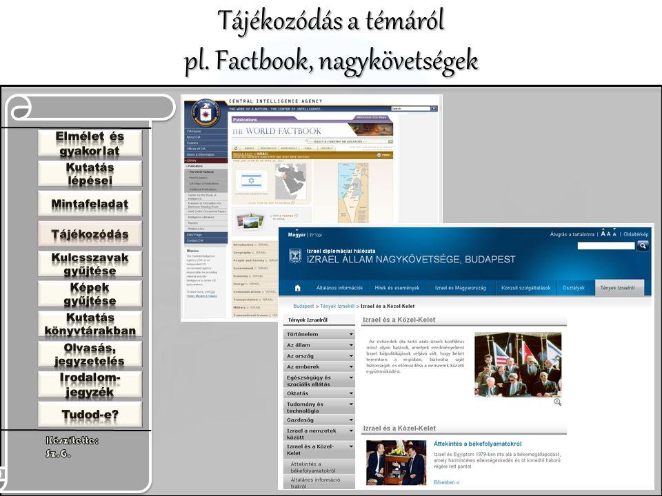 Tájékozódás a témáról pl. Factbook, nagykövetségek