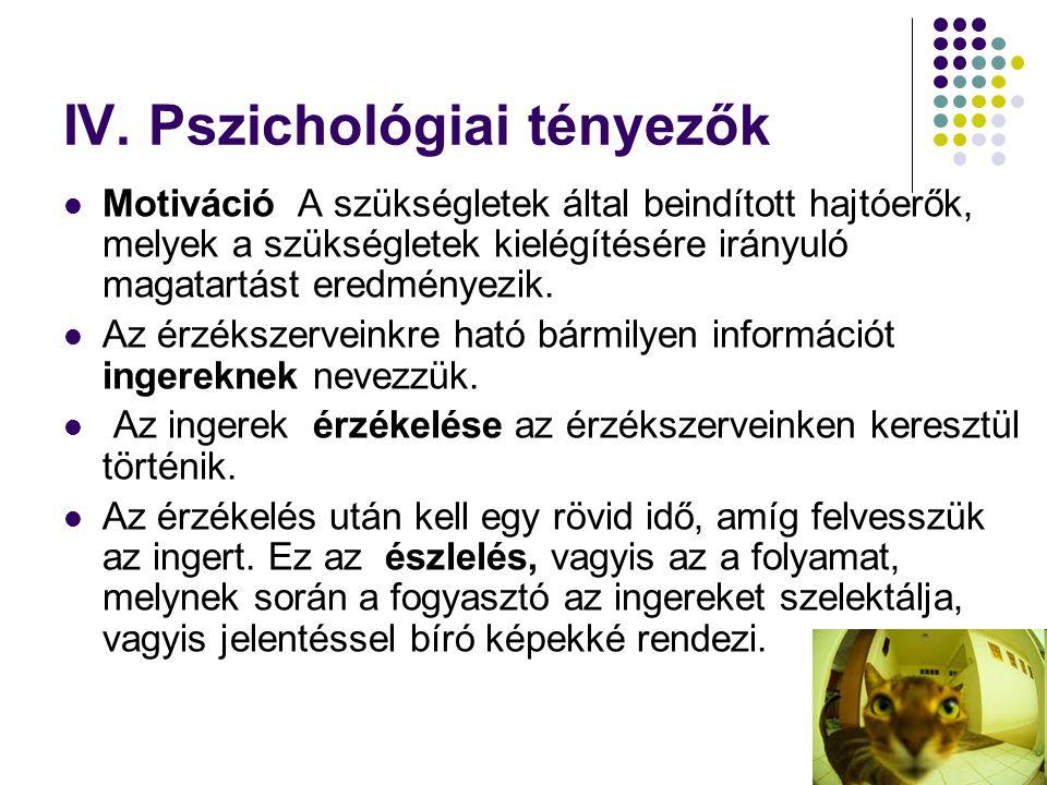 IV. Pszichológiai tényezők  Motiváció A szükségletek által beindított hajtóerők, melyek a szükségletek kielégítésére irányuló magatartást eredményezi