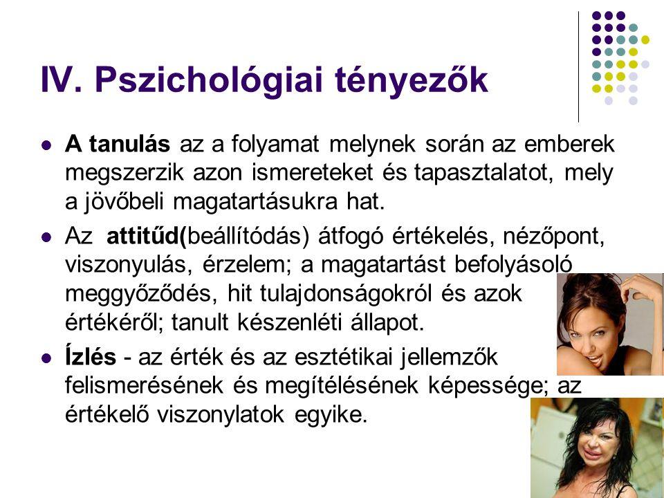 IV. Pszichológiai tényezők  A tanulás az a folyamat melynek során az emberek megszerzik azon ismereteket és tapasztalatot, mely a jövőbeli magatartás