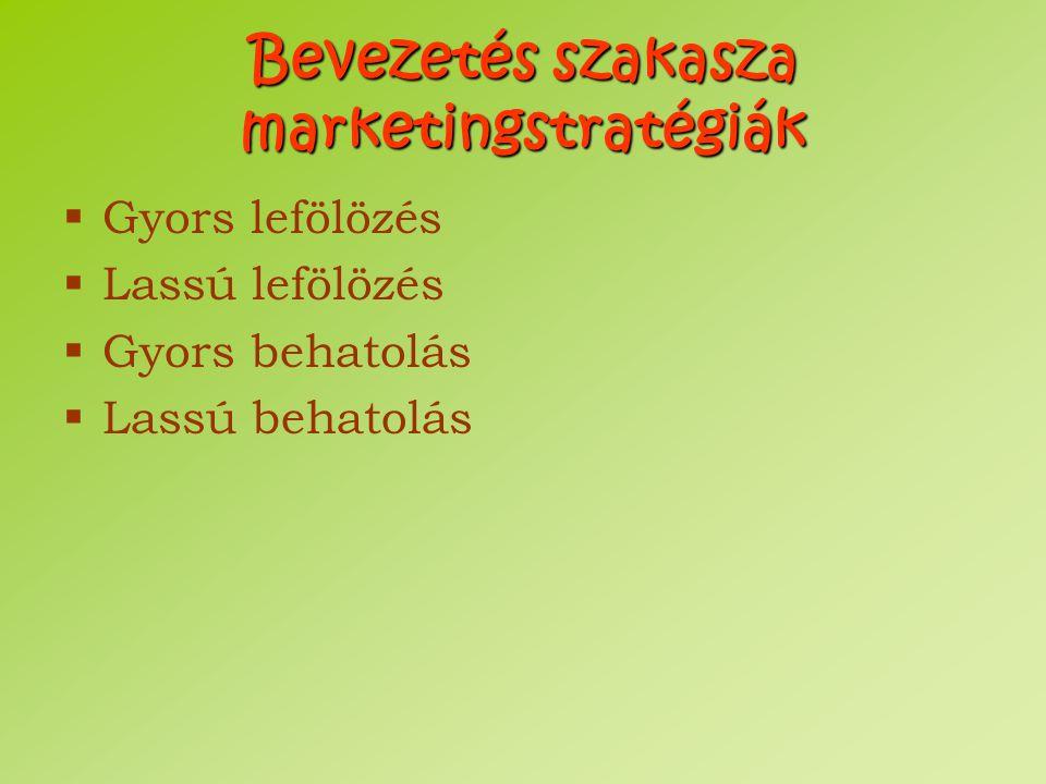 Bevezetés szakasza marketingstratégiák  Gyors lefölözés  Lassú lefölözés  Gyors behatolás  Lassú behatolás