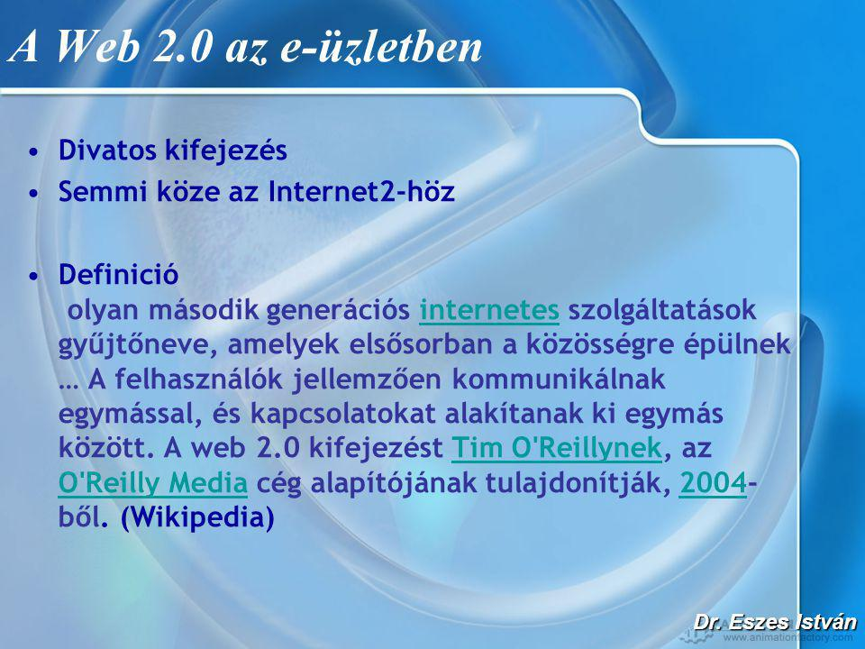 Dr. Eszes István A Web 2.0 az e-üzletben •Divatos kifejezés •Semmi köze az Internet2-höz •Definició olyan második generációs internetes szolgáltatások