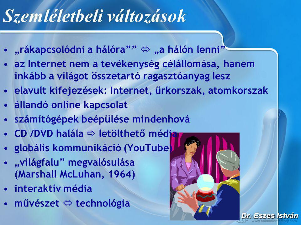 """Dr. Eszes István Szemléletbeli változások •""""rákapcsolódni a hálóra""""""""  """"a hálón lenni"""" •az Internet nem a tevékenység célállomása, hanem inkább a vilá"""