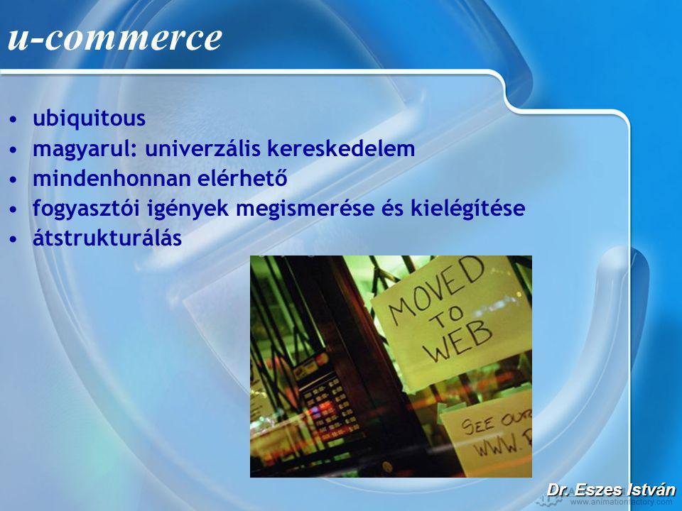 Dr. Eszes István u-commerce •ubiquitous •magyarul: univerzális kereskedelem •mindenhonnan elérhető •fogyasztói igények megismerése és kielégítése •áts