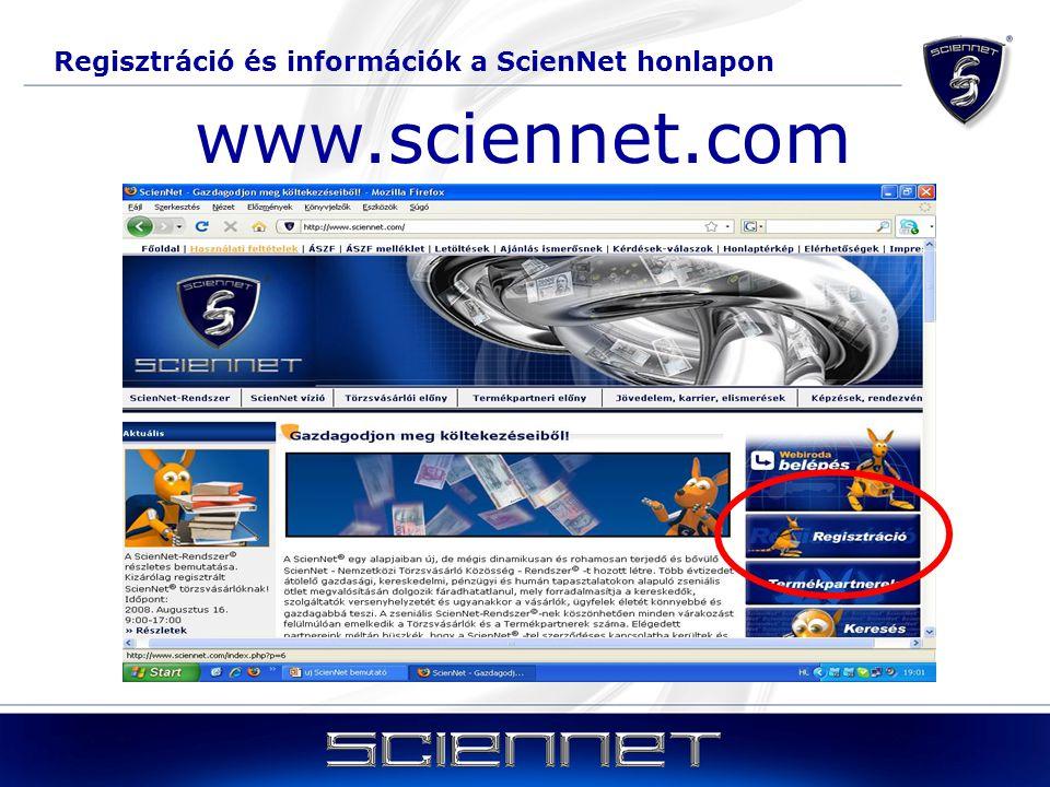 Regisztráció és információk a ScienNet honlapon www.sciennet.com