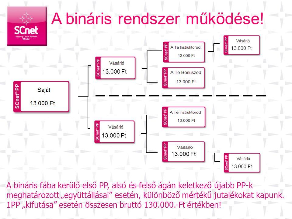 """A bináris rendszer működése! 13.000 Ft A bináris fába kerülő első PP, alsó és felső ágán keletkező újabb PP-k meghatározott """"együttállásai"""" esetén, kü"""