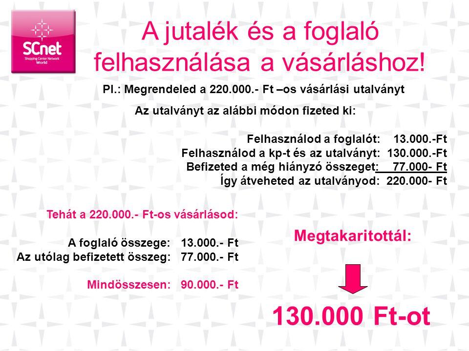 A jutalék és a foglaló felhasználása a vásárláshoz! Az utalványt az alábbi módon fizeted ki: Felhasználod a foglalót: 13.000.-Ft Felhasználod a kp-t é