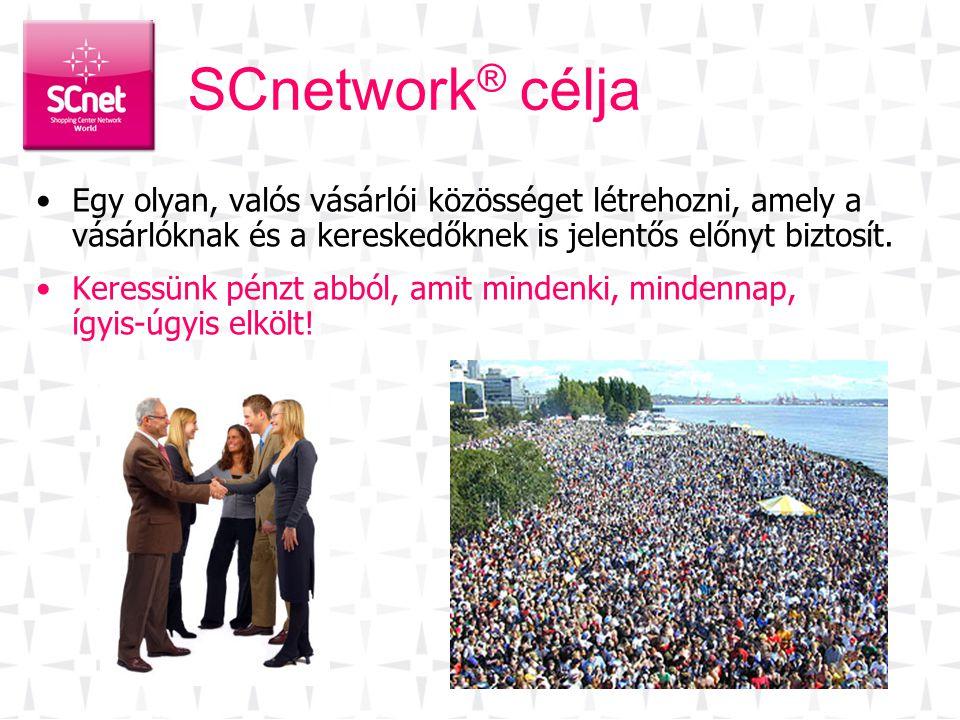 SCnetwork ® célja •Egy olyan, valós vásárlói közösséget létrehozni, amely a vásárlóknak és a kereskedőknek is jelentős előnyt biztosít. •Keressünk pén