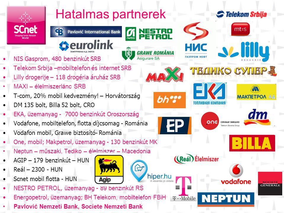 •NIS Gasprom, 480 benzinkút SRB •Telekom Srbija –mobiltelefon és internet SRB •Lilly drogerije – 118 drogéria áruház SRB •MAXI – élelmiszerlánc SRB •T