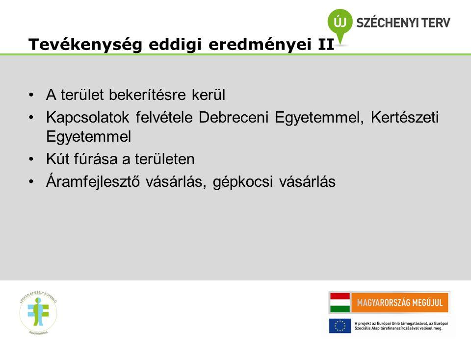 12 •A terület bekerítésre kerül •Kapcsolatok felvétele Debreceni Egyetemmel, Kertészeti Egyetemmel •Kút fúrása a területen •Áramfejlesztő vásárlás, gépkocsi vásárlás Tevékenység eddigi eredményei II