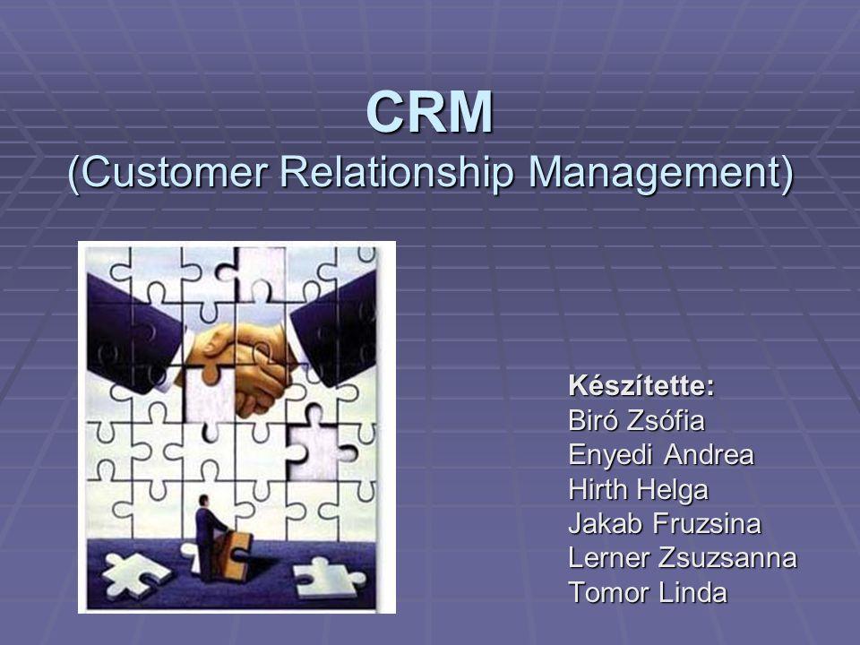 CRM (Customer Relationship Management) Készítette: Biró Zsófia Enyedi Andrea Hirth Helga Jakab Fruzsina Lerner Zsuzsanna Tomor Linda