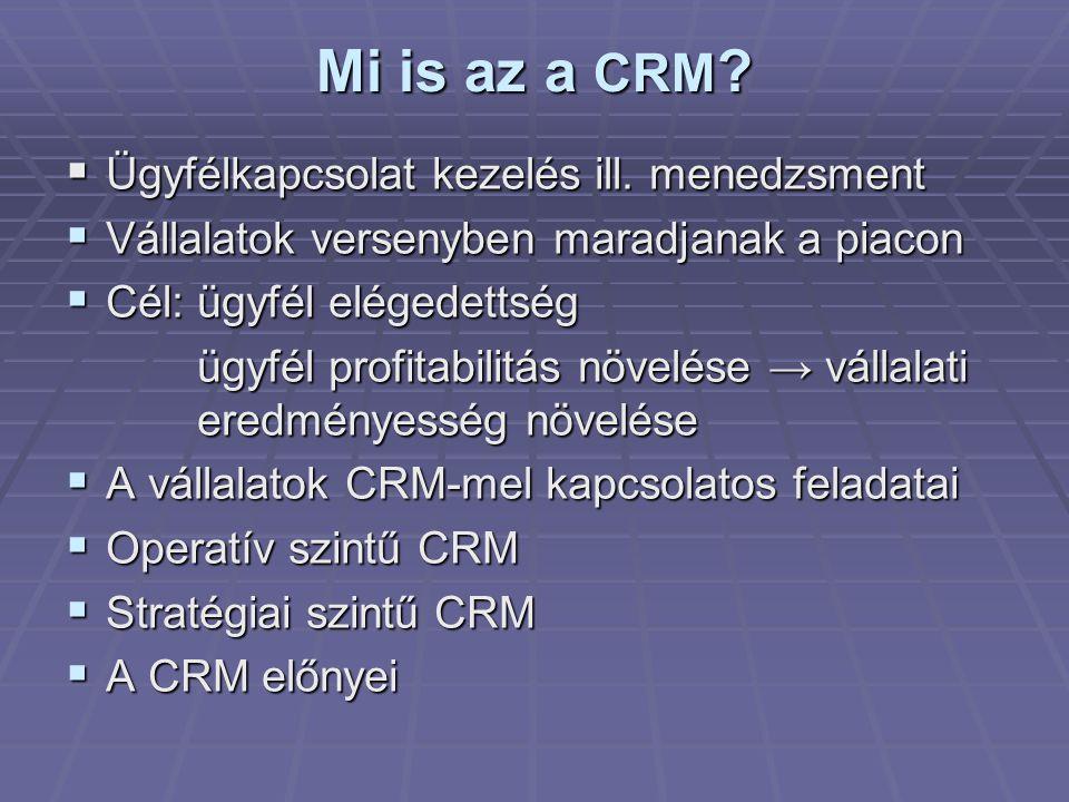 A CRM célkitűzései  Ügyfelek megtartása, az ügyfél- lemorzsolódás csökkentése  Új ügyfelek felkutatása, megszerzése  Ügyféllojalitás növelése  Értékesítés növelése, keresztértékesítés (cross-selling)  Nagyobb nyereségű termékek értékesítése ugyanannak a vevőnek (up- selling)