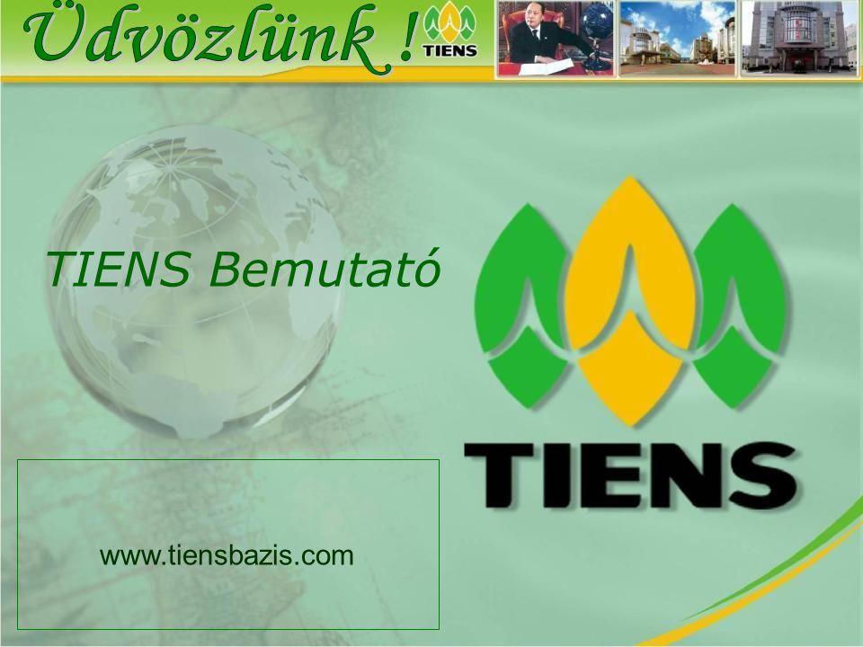 A TIENS cégről A) Számokban • Alapítva: 1995 • 190 ország • 20 millió család B) Elismerésekben • Az ENSZ hivatalos beszállítója • A kínai császári receptúrák kizárólagos használója • Részvényeit jegyzik a tőzsdén (AMEX: TBV) • 1996-ban a cég megalapította a Tianshi Egyetemet • A WHO 13 aranyéremmel tüntette ki