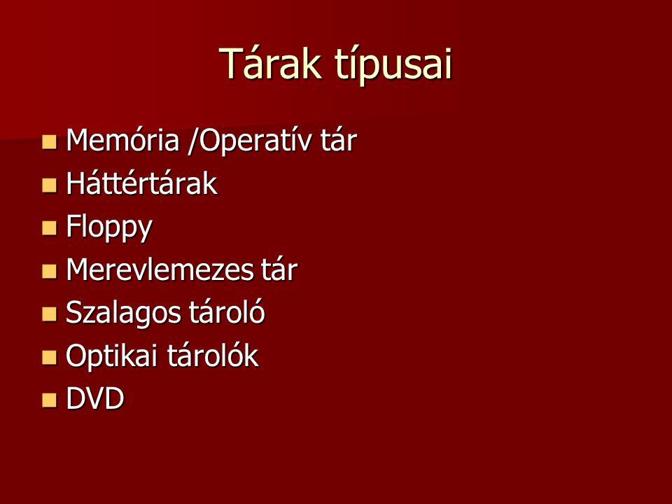 Tárak típusai  Memória /Operatív tár  Háttértárak  Floppy  Merevlemezes tár  Szalagos tároló  Optikai tárolók  DVD