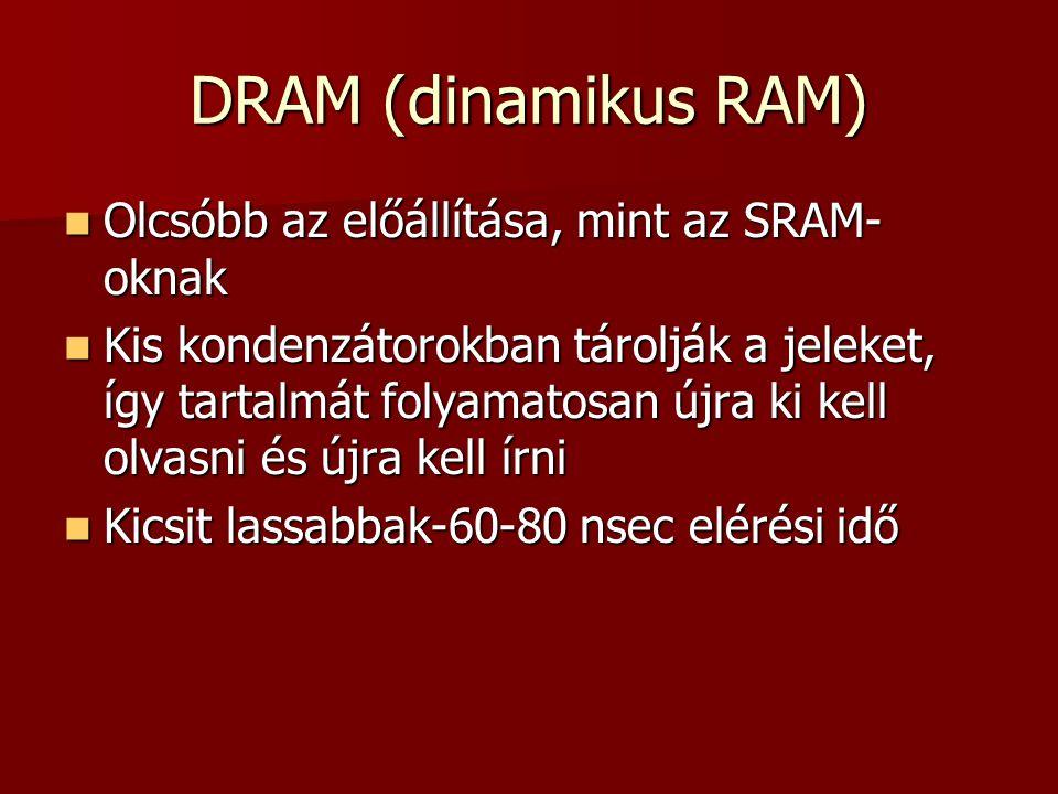 DRAM (dinamikus RAM)  Olcsóbb az előállítása, mint az SRAM- oknak  Kis kondenzátorokban tárolják a jeleket, így tartalmát folyamatosan újra ki kell olvasni és újra kell írni  Kicsit lassabbak-60-80 nsec elérési idő