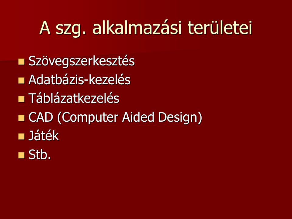 A szg. alkalmazási területei  Szövegszerkesztés  Adatbázis-kezelés  Táblázatkezelés  CAD (Computer Aided Design)  Játék  Stb.