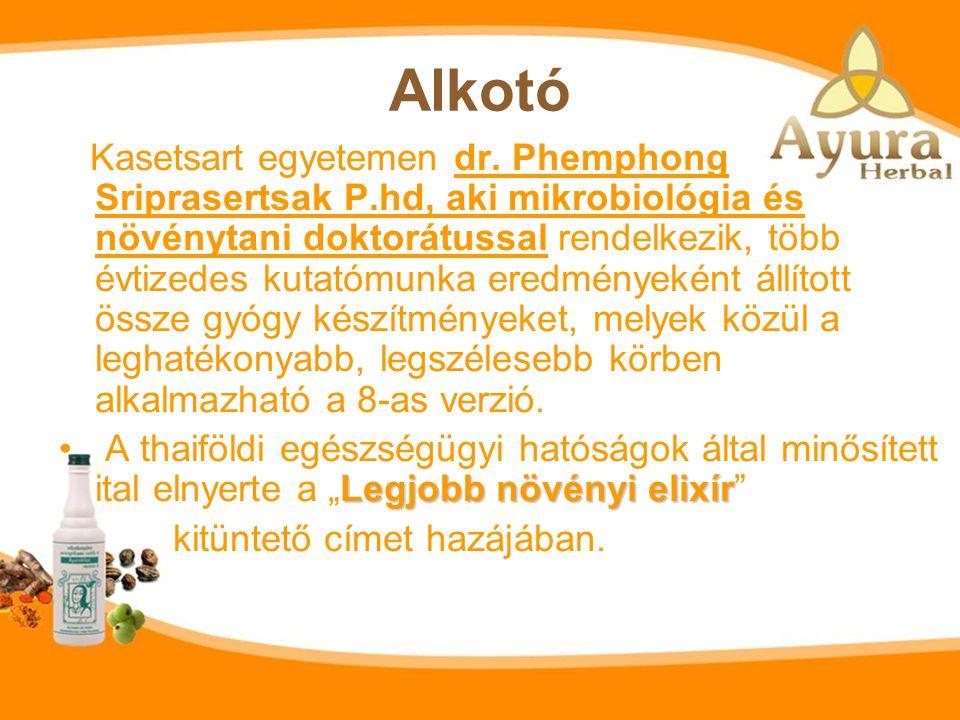 Ayura vilac 8 Hatása az ayurvéda elméletén alapul. tradicionális thai gyógynövényekből készült elixír. Az Ayura vilac 8 tradicionális thai gyógynövény