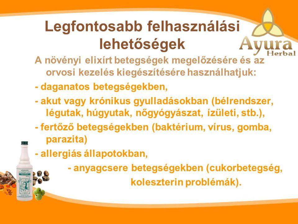 Az elixír összetevői: Fő összetevők: - Amla, vagy indiai pöszméte (Phyllanthus emblica), - Fekete balzsamdió (Terminalia chebula), - Kurkuma (Curcuma