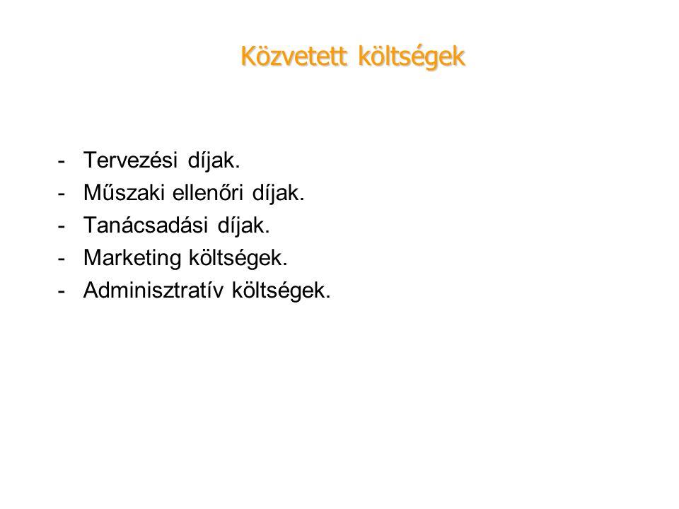 -Tervezési díjak. -Műszaki ellenőri díjak. -Tanácsadási díjak. -Marketing költségek. -Adminisztratív költségek. Közvetett költségek