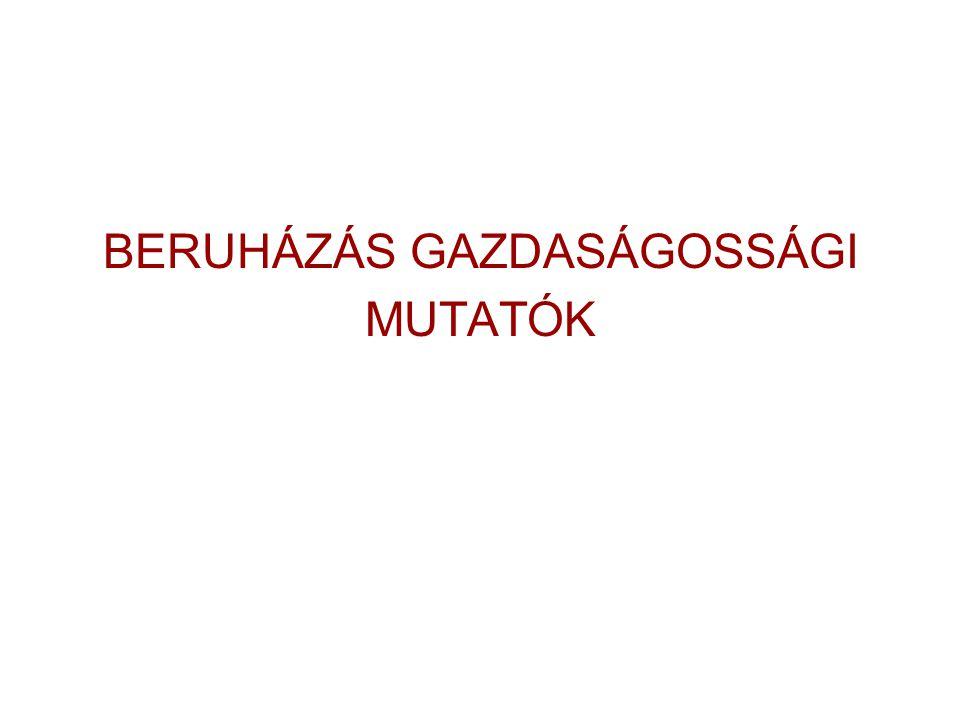 BERUHÁZÁS GAZDASÁGOSSÁGI MUTATÓK