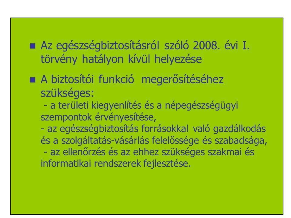 17/18  Az egészségbiztosításról szóló 2008. évi I. törvény hatályon kívül helyezése  A biztosítói funkció megerősítéséhez szükséges: - a területi ki