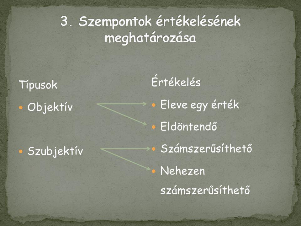 Típusok  Objektív  Szubjektív Értékelés  Eleve egy érték  Eldöntendő  Számszerűsíthető  Nehezen számszerűsíthető