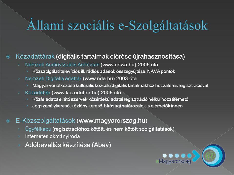 Közadattárak (digitális tartalmak elérése újrahasznosítása) › Nemzeti Audiovizuális Archívum (www.nawa.hu) 2006 óta  Közszolgálati televíziós ill.