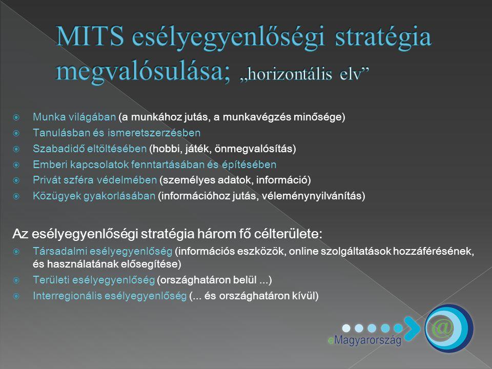  2003 - eMagyarország program (Gazdasági és Közlekedési Minisztérium)  2006- eTanácsadó képzés (Informatikai és Hírközlési Minisztérium) A programok fő céljai: › e-Közszolgáltatások elérésének, elterjedtségének növelése › Esélyegyenlőség a hátrányos helyzetű térségek elektronikus ügyintézés és közösségi internet használatában › A fenti célok elérését elősegítő tanácsadók képzés Közösségi informatika színterei:  Teleház  eMagyarország pontok